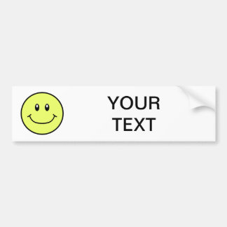 Smiling Face Bumper Sticker Yellow 0001