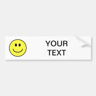 Smiling Face Bumper Sticker Yellow 0002