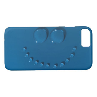 Smiling face made of waterdrops on a blue iPhone 8/7 case