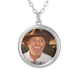 Smiling face silver plated necklace