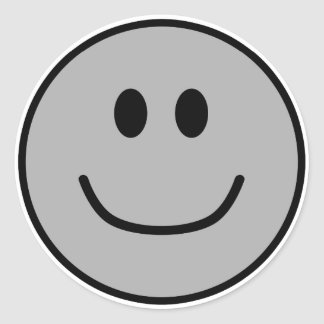 Smiling Face Stickers Grey 0002