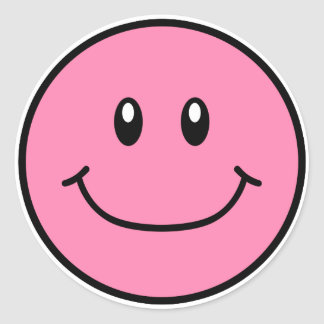 Smiling Face Stickers Pink 0001