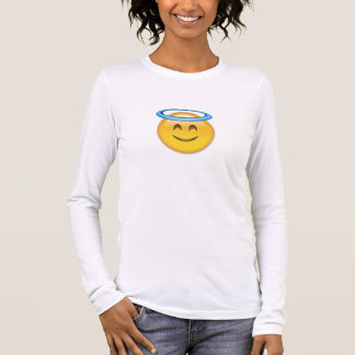 Smiling Face With Halo Emoji Long Sleeve T-Shirt