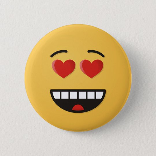 Smiling Face with Heart-Shaped Eyes 6 Cm Round Badge