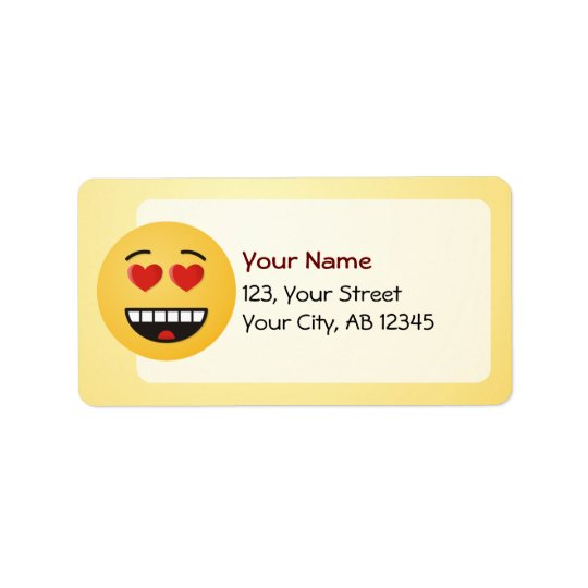 Smiling Face with Heart-Shaped Eyes Address Label