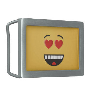 Smiling Face with Heart-Shaped Eyes Belt Buckle