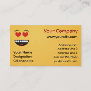 Heart shaped business cards zazzle au smiling face with heart shaped eyes business card colourmoves