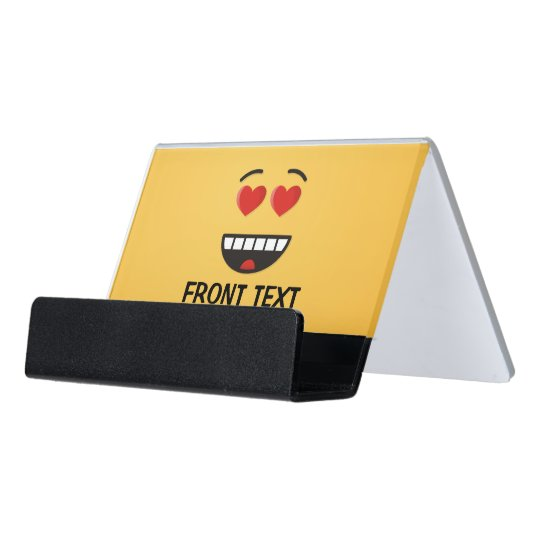 Smiling Face with Heart-Shaped Eyes Desk Business Card Holder