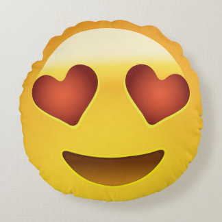 Smiling Face With Heart Shaped Eyes Emoji Round Cushion