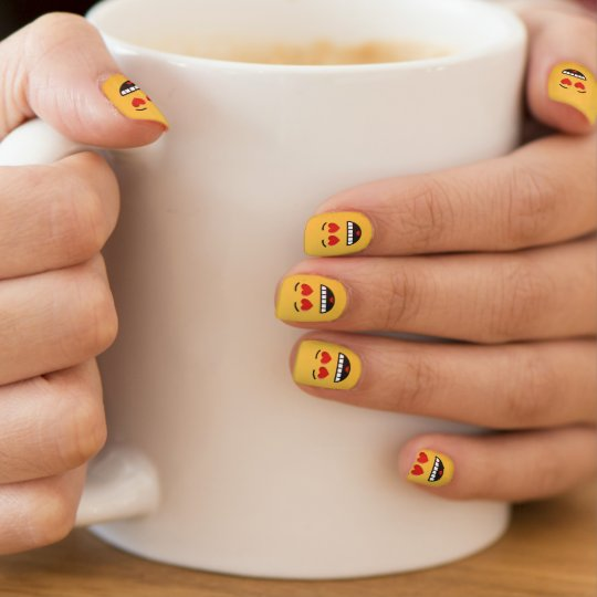 Smiling Face with Heart-Shaped Eyes Minx Nail Art
