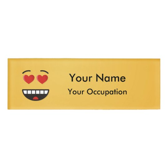 Smiling Face with Heart-Shaped Eyes Name Tag