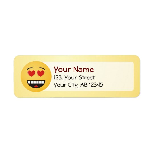 Smiling Face with Heart-Shaped Eyes Return Address Label