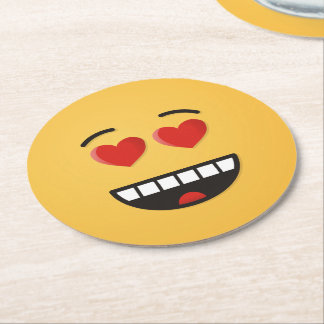 Smiling Face with Heart-Shaped Eyes Round Paper Coaster