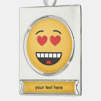 Smiling Face with Heart-Shaped Eyes Silver Plated Banner Ornament