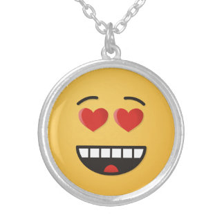 Smiling Face with Heart-Shaped Eyes Silver Plated Necklace
