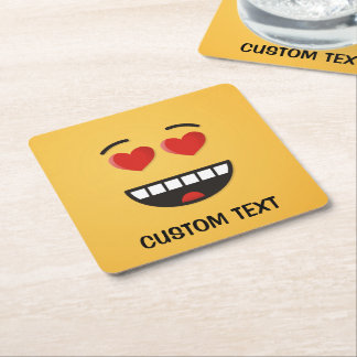 Smiling Face with Heart-Shaped Eyes Square Paper Coaster