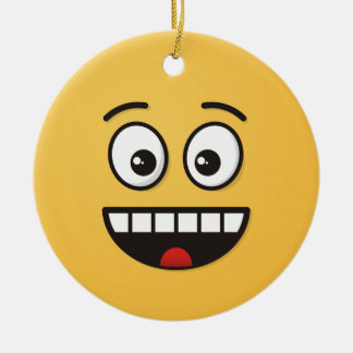 Smiling Face with Open Mouth Ceramic Ornament