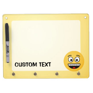 Smiling Face with Open Mouth Dry Erase Board With Key Ring Holder