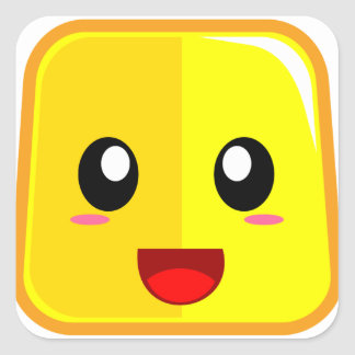 Smiling Face with Open Mouth Funny Emoji Square Sticker