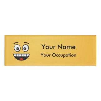 Smiling Face with Open Mouth Name Tag