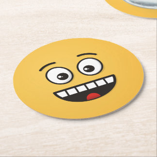 Smiling Face with Open Mouth Round Paper Coaster