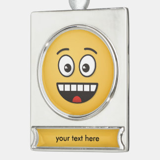 Smiling Face with Open Mouth Silver Plated Banner Ornament