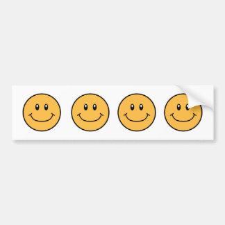 Smiling Faces Bumper Sticker Orange 0001
