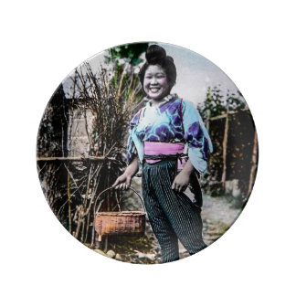 Smiling Farm Girl in Old Japan Vintage Japanese Plate