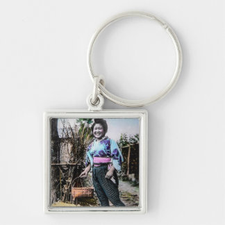 Smiling Farm Girl in Old Japan Vintage Japanese Silver-Colored Square Key Ring
