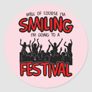 SMILING FESTIVAL (blk) Classic Round Sticker