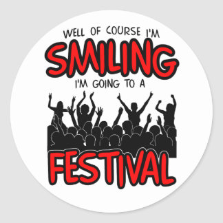 SMILING FESTIVAL (blk) Round Sticker