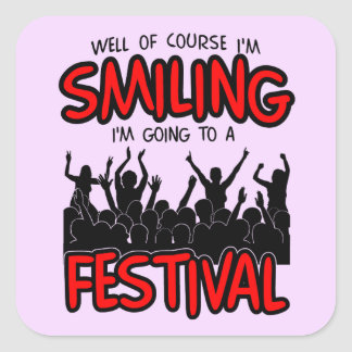 SMILING FESTIVAL (blk) Square Sticker