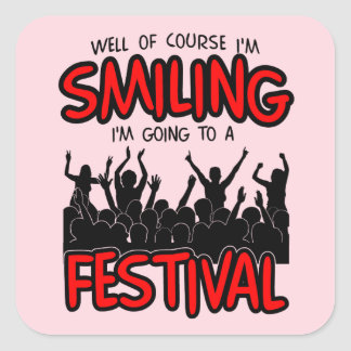SMILING FESTIVAL (blk) Square Sticker