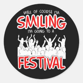 SMILING FESTIVAL (wht) Round Sticker