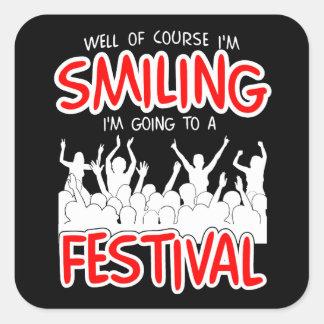 SMILING FESTIVAL (wht) Square Sticker