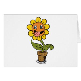smiling flower cartoon card