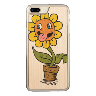 smiling flower cartoon carved iPhone 7 plus case