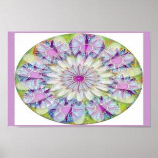 Smiling Flower n Nine Light Shade Purple Stars Print
