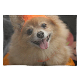 Smiling Foxy Pomeranian Puppy in Pumpkin Halloween Placemat
