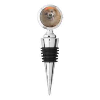 Smiling Foxy Pomeranian Puppy in Pumpkin Halloween Wine Stopper