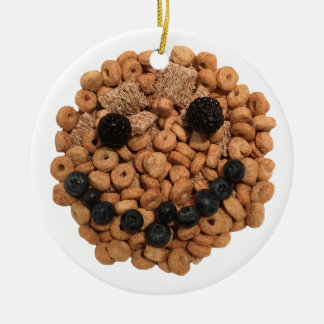 Smiling Fruit and Cereal Round Ceramic Decoration