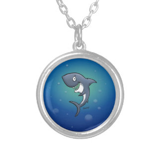 Smiling Funny Shark on Blue Background Silver Plated Necklace