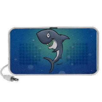 Smiling Funny Shark on Blue Background Speaker System