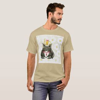 Smiling Gato Gordo Crown Watercolor Rare T-Shirt