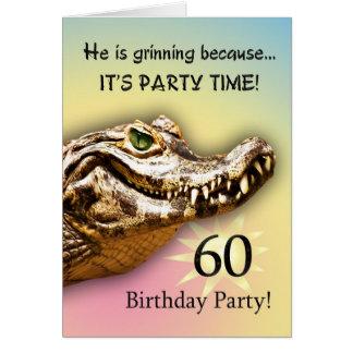 Smiling gator party invitation