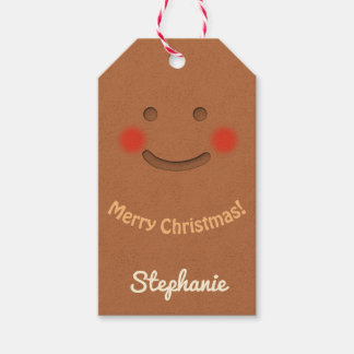 Smiling Gingerbread Cookie Gift Tags