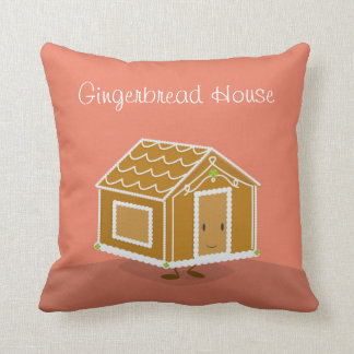 Smiling Gingerbread House | Throw Pillow
