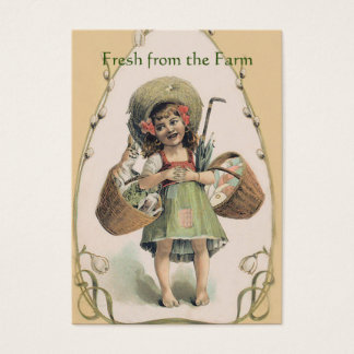 Smiling Girl Carrying Happy Rabbit - Vintage Farm Business Card