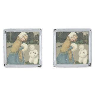 Smiling Girl Snowman Sleigh Snow Woods Silver Finish Cufflinks