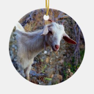 Smiling goat ceramic ornament
